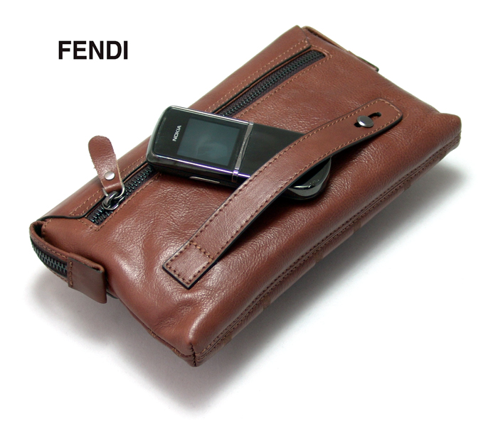Кожаная мужская барсетка Fendi F2203BR