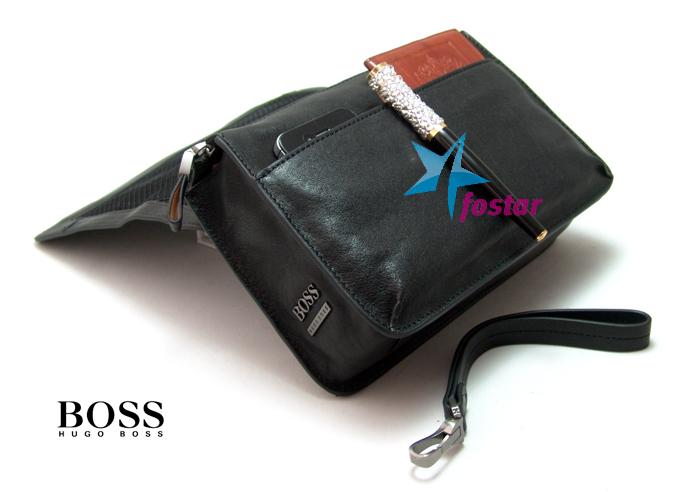 Мужская кожаная черная барсетка Hugo Boss D8630-5BR