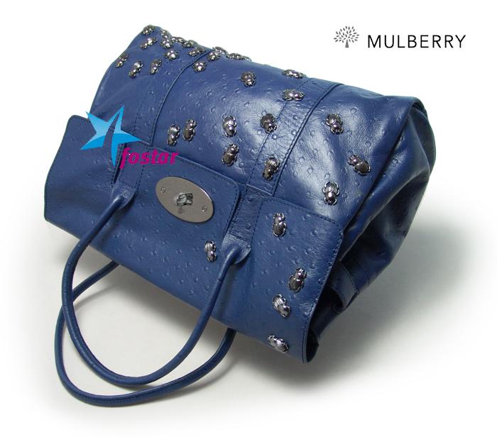 Синяя женская сумка с жуками Mulberry 8889BLUE