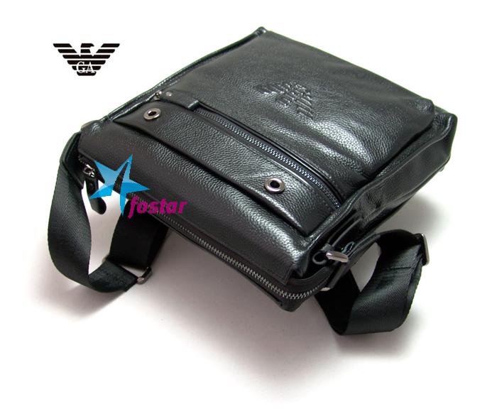 Черная кожаная сумка через плечо Giorgio Armani 44312BK