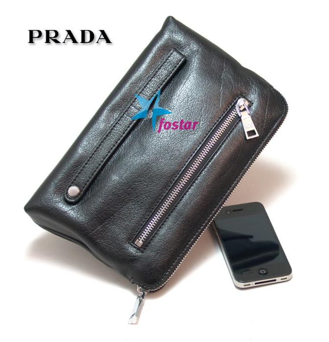 Черная кожаная мужская барсетка Prada 16281BK