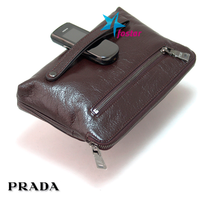 Кожаная мужская барсетка Prada 16282BR