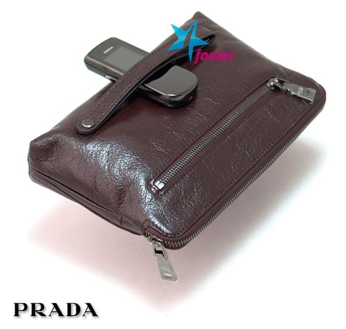 Кожаная мужская барсетка Prada 16283BR