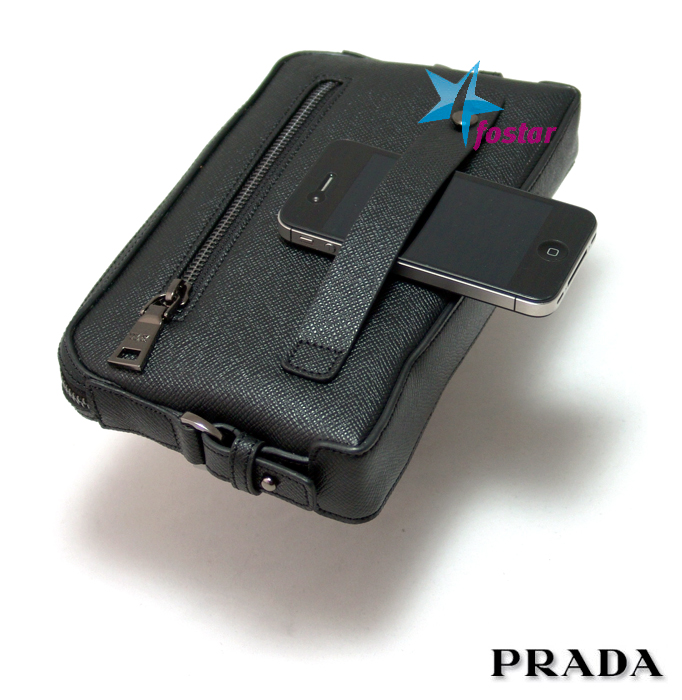 Черная мужская барсетка Prada 8020-6BK