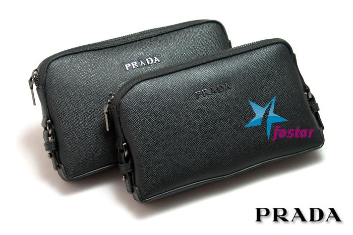 Модная черная мужская барсетка Prada 8020-7BK